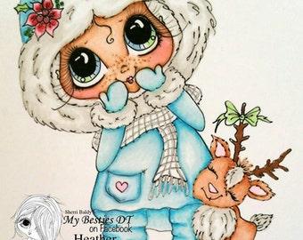 INSTANT DOWNLOAD Digital Digi Stamps Big Eye Big Head Dolls Digi  Img917 Christmas By Sherri Baldy