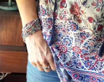 """Nautical Beaded Wrap Bracelet with or without Tassel or Charm - 87"""" Long Seed Bead Stretch Bracelet"""