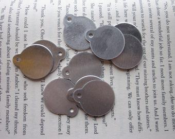 10 Aluminum 1 Inch Discs with Top Loop - 18 Gauge