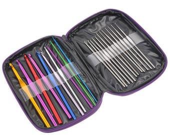 Crochet Hooks 22  Pieces Set Travel Case Included Mixed Aluminum Handle  Durable Crochet Hooks Kit