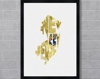 New Jersey Map Art, Typography Art of New Jersey, New Jersey Flag Map, New Jersey Art Print Gifts as Wall Art / Poster of United States Map