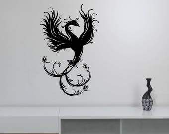 Phoenix Bird Wall Decal Ancient Animal Vinyl Sticker Fantasy Greek Mythology Art Decorations for Home Room Bedroom Spiritual Decor phx1