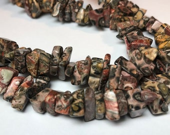 "SALE Leopard Jasper Chips 36"" Strand Polished 10 to 15mm - Beautiful"