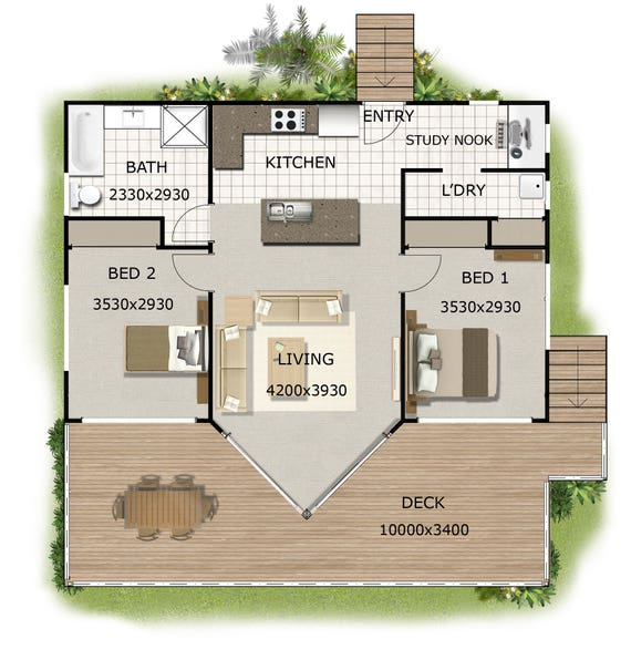 And Bedroom House Plans BOOK Small Houses Granny Flats - Granny flat 2 bedroom designs