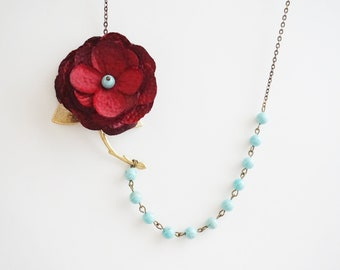Bridesmaid Gift Bridesmaid Jewelry Statement Necklace Red Necklace Flower Necklace Celadon Necklace Bridesmaid Set Vintage Necklace Gift