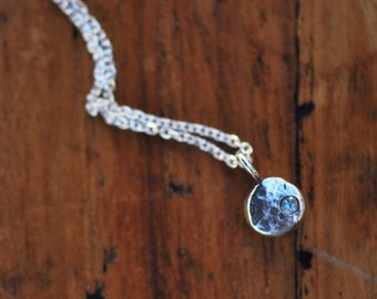 Aquamarine pebble sterling silver necklace- Air