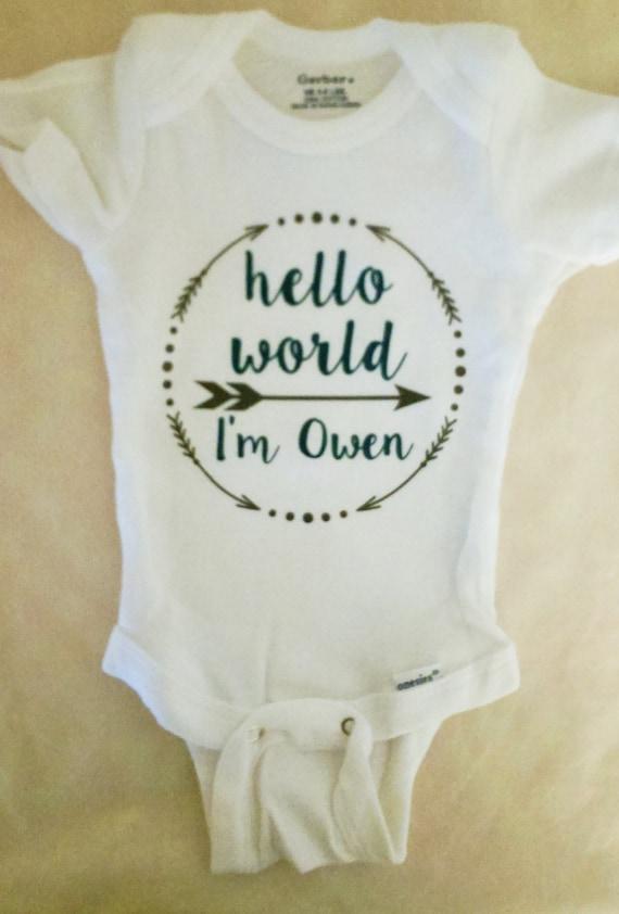 Personalized Boy's Hello World Onesie. Personalized