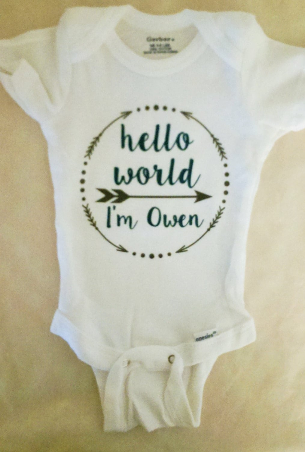 Personalized Boys Hello World Onesie Personalized
