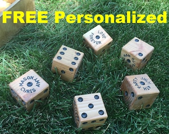 PERSONALIZED 6 Yard Dice for Outdoor & Indoor Fun Games; like Yahtzee,Farkle,Around-The-World. Play in BackYard,Family Picnic,Party,Bar-B-Q
