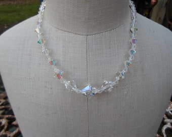 Vintage Graduated Crystal Bicone Beaded Iridescent Necklace Adjustable Sparkly Wedding Bridal 1950s to 1960s