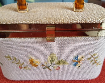Vintage 1970's Needlepoint Basket Box Purse w Butterflies