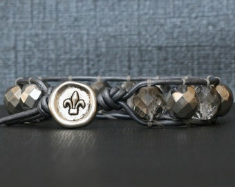 silver crystal wrap bracelet with fleur de lis button on silver leather - glam stacking bangle - bohemian jewelry