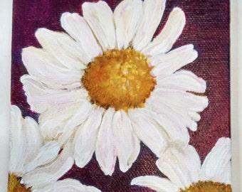 Shasta Daisies painting canvas art 4 x 4 white daisies, purple mini canvas art, small flower painting, mini easel, daisy painting