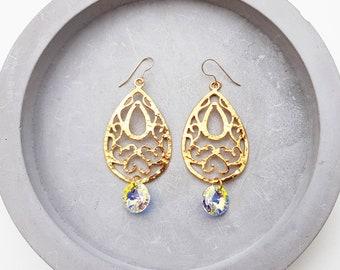 filigree earrings, gold drop earrings, swarovski earrings, big gold earrings, chandelier earrings, large earrings, dangle earrings