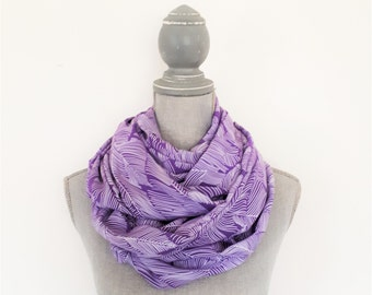 Purple Scarf, Spring Scarf, Infinity Scarf, Rayon Scarf, Leaf Print Scarf, Women's Scarf, Ultra Violet Scarf, Mother's Day Gift