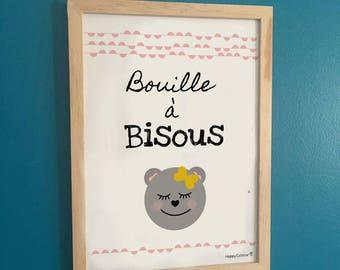 Poster / Teddy bear A4 frame - face kisses!