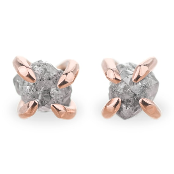 14k Rose Gold Uncut Diamond Studs Rough Diamond Earrings