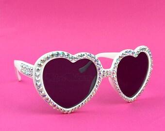UTOPIA Heart Sunglasses, White Sunglasses, Iridescent Sunglasses, Rhinestone Sunglasses, Wedding Sunglasses, Cute Sparkly Womens Sunglasses