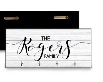 Family name personalized housewarming gift for wedding shower wedding personalized key rack hook