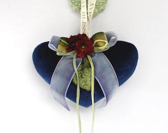 Blue velvet heart sachet with velvet flowers