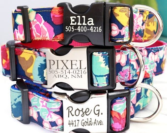 ELLA Floral Engraved Dog Collar - Personalized Dog Collar with 4 Nylon Colors to Choose From - ID Dog Collar - Custom Pet ID