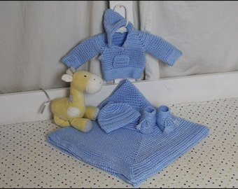 Baby Blue - HDC Faux Stockinette Baby Set - CROCHET PATTERN - Baby Blanket, Sweater-Hoodie, Booties, Hat