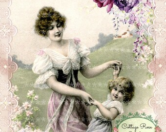 Vintage Belle Amour French lavender Roses Large digital download ECS buy 3 get one free romantic cottage single image