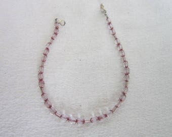 Retro Pink Glass Beaded Ankle Bracelet