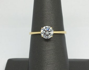 14K Yellow Gold CZ Solitaire Ring