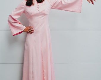 Vintage Pink Hooded Maxi Dress