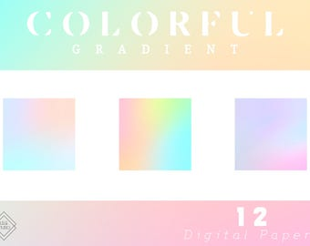 Gradient Digital Paper - Rainbow Digital Paper Pack - Holographic Printable Paper - Abstract Digital Background - Digital Scrapbook