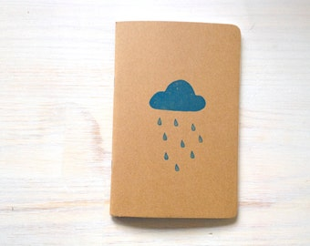 Notebook: Rain Cloud, Blue, Stamped, Hand Carved, Stocking Stuffer, Kids, Journal, For Him, For Her, Christmas, Jotter, Unique, Gift, Kraft