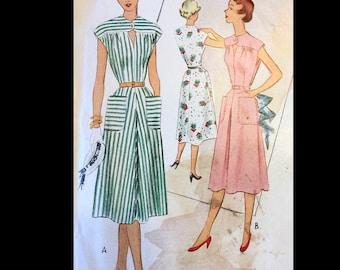 Vintage 50s Keyhole Neckline Cap Sleeve Day Dress HUGE Pockets Sewing Pattern 8512 B31
