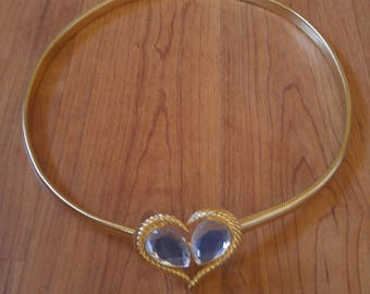 80s Elastic metal heart waist belt