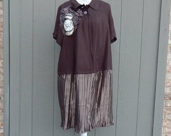 Altered Women's Brown Linen Jacket,Altered Couture, Size 18/20 Dark Brown LagenLook Top, Bohemian Style, Women's Top, Refashioned Jacket