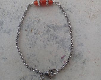 Very fine steel chain and carnelian bracelet