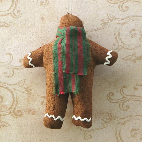 Ornie de pan de jengibre del faux. Adornos de Navidad de tela