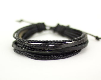 Mens Rope Bracelet, Black Rope Bracelet, Leather Bracelet, Rope Bracelet, Mens Black Bracelet, Men Leather Bracelet, Mens Bracelet