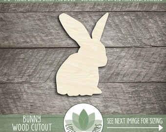 Bunny Wood Cut Shape, Unfinished Wood Bunny Rabbit Laser Cut Shape, DIY Craft Supply, Many Size Options