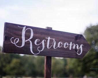 Wedding Sign, Wedding Signs - Wedding Restrooms Sign Rustic WS-11