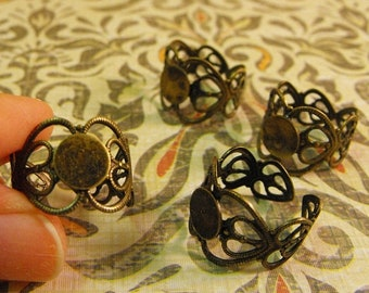 Mothers Day Sale 4 Pack New Antique Finish Brass Fancy heart Filigree Style Ring Bases