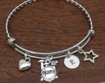 Drum kit bracelet, drums jewellery, drums jewellery gift, personalised initial jewellery, drums charm bracelet