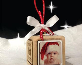 Personalized 1st Christmas Ornament Baby's First Christmas Wooden Block Ornament, Baby Gift Newborn, Grandparent Gift