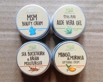 4 x 10ml Pocket Moisturisers - MSM Beauty Cream, Aloe Vera Gel, Sea Buckthorn & Argan and Mango and Moringa Cream