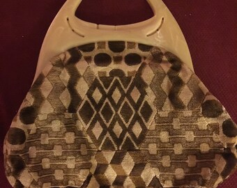 Vintage Cara Purse/Handbag - Velour Geometric Pattern, Lucite Handles - 1960s