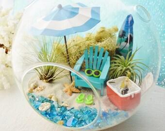 """Beach Terrarium Kit ~ 8"""" Air Plant Terrarium Kit ~ Coastal Living Beach Decor ~ Cooler ~ Beach Umbrella ~ Surfboard ~ Adirondack Chair ~Gift"""