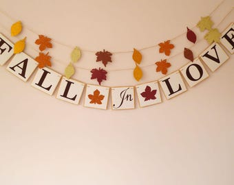 Fall in love banner, fall wedding, bridal shower, engagement party, bride to be, baby shower decorations