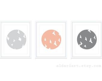 Bird Wall Art - Bird Art Print - Set of 3 - Minimalist Bird Wall Art  - Custom Color - 5x7 or 8x10 - Aldar Art
