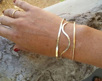 Hammered Bangle, Curved or Straight, Sterling Silver, or, 16K Gold Fill, Stacking Bangle, Gold Bangle, Silver Bangle, simple, tiny bracelet