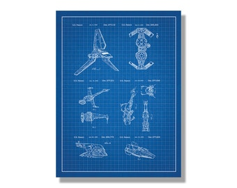 Star Wars Vehicles and Space Ships Screen Printed Patent Poster- Sci-Fi & Fantasy - screen print technical design blueprint schematic retro